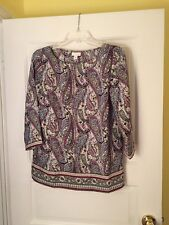 J. Jill Multi Colored Top With 3/4 Length Sleeves Size Xsmall