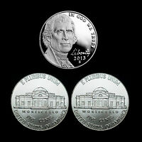 2013 P+D+S Jefferson Nickel Mint Proof Set ~ PD from Bank Rolls ~ Set of 3 Coins