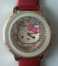 Ladies Girls Red Hello Kitty Crystal Quartz Watch Leather Wrist Watch-With Box