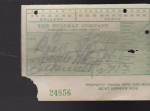 Pullman Company 1936 Passengers Fare Ticket Train
