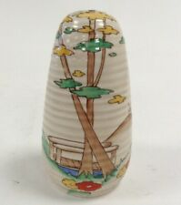More details for clarice cliff art deco style floral country scene design sugar shaker wilkinson