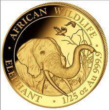 50 Shilling 999 or Pièce en la Somalie Éléphant de L'Éléphant 2018 1/25 Pouces