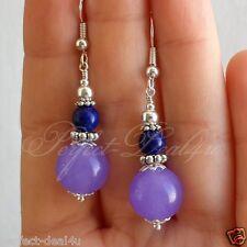 Jade Lapis Lazuli Stone Pretty Earrings 925 Sterling Silver hook Purple Lavender
