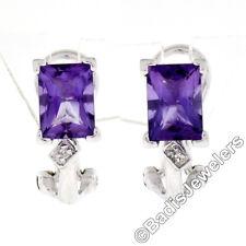 Petite 14K White Gold 2.02ctw Emerald Cut Amethyst Diamond Huggie Omega Earrings