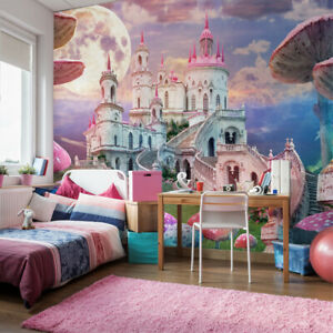 VLIES FOTOTAPETE Selbstklebend XXL Mädchen rosafarbenes Schloss 3D Tapeten 2835