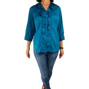 ALFANI WOMAN 16W 1X teal blue-green stretch ruffle blouse ¾ sleev fitted vneck