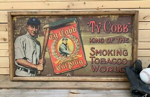 Antique Style Ty Cobb Tobacco T206 Baseball Advertisement Sign 12x24