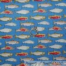 BonEful Fabric FQ Cotton Quilt Blue White Red Gold FISH US Stripe Cabin Hunt Dot