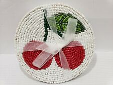 Summer Spring Cherry Beaded Coasters Home Decor Set of 4