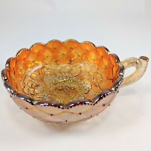 Vintage Amber Marigold Carnival Glass Floral Deisgn Nappy Dish Nut Candy