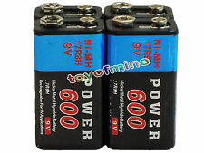 4x Durable 9V 9 volts 600mAh Black Power Ni-MH rechargeable PPS