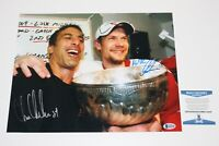 NICKLAS LIDSTROM CHRIS CHELIOS SIGNED DETROIT RED WINGS 11x14 PHOTO BECKETT COA