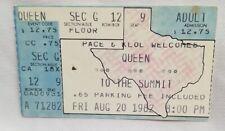 Queen - Vintage Aug 20, 1982 The Summit Concert Ticket Stub