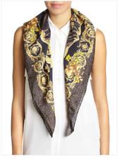 New Versace Mixed Animal Print Silk Satin Scarf 35x35 Italy $320
