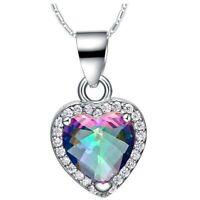 Classic Heart Fire Rainbow Mystic Topaz Gemstone Silver Necklace Pendants