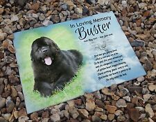 Personalised white cermaic tile headstone memorial plaque Newfoundland dog gift