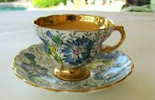 ROSINA  ENGLAND BONE CHINA FOOTED  CUP AND SAUCER  FLORAL WITH GOLD