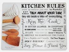 "GORGEOUS Glass Cutting Board ""Kitchen Rules"" By Moni's Cozy Kitchen 16"" x 12"""