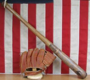 Vintage Wilson Wood Baseball Bat w/ Hiawatha Leather Glove Both Al Rosen Indians
