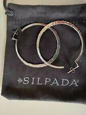 Silpada Sterling Silver Hammered Hoop Earrings P1287 HTF RARE