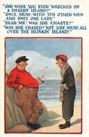 VINTAGE COMIC WERE YOU EVER WRECKED ON A DESERT ISLAND POSTCARD