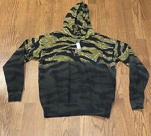 $298 Mens Authentic Diesel Alby Tigercam Cotton Hoodie Black/Green XL