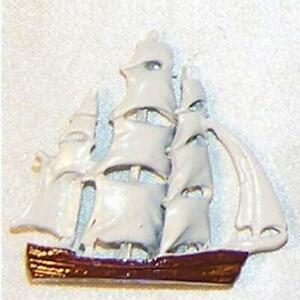 Toy Ship Figurine Painted 2944 Island Crafts Metal Dollhouse Miniature