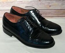 Men Bostonian Classics Wingtip Brogue Dress Career Shoes Black Leather Size 9.5
