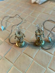 Miniature Dollhouse Set of 2 Buffet Lamps Wired for Electricity