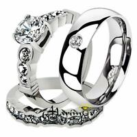His & Hers Stainless Steel Bridal Engagement Ring Set & Zirconia Wedding Band