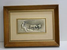 OTTAVIANI ETCHING OF COWS AND HERDER.  FRAMED.  925 SILVER