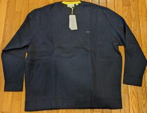 Mens Authentic Lacoste Ribbed Knit Sweater Navy Blue 9 (4XL) $198