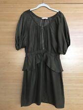 REBECCA TAYLOR Sz 10 100% SILK Peplum Dress, Olive Green
