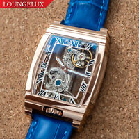 Mens Rose Gold Bridge Manual Mechanical Watch - Blue Leather DIASTERIA 1688W