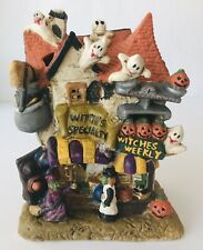 Halloween Haunted House Ceramic Figurine Witch's Specialty Shop Ghosts Pumpkins