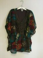 Women Printed Crochet Polyester Plus Size Batwing Tunic Top Blouse 1X-2X-3X NWT