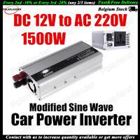 Inversor energía auto Coche corriente 1500W 12V a 220V convertidor USB Cargador