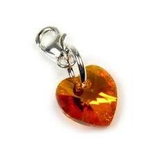 Small Pink Orange Crystal Heart Clip Charm Solid Silver Clasp - High Quality