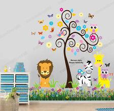Owl Animal Tree Butterflies Grass Lion Zebra Giraffe Wall Stickers Art Decal Kid