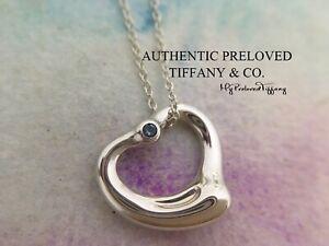 Excellent Tiffany & Co. Elsa Peretti Small Open Heart Aquamarine Silver Necklace