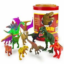 "Set of 12 Large 7"" Dinosaur Toys with Storage Drum 