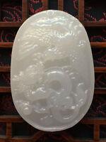 Natural Chinese White Jade Dragon phoenix amulet Pendant