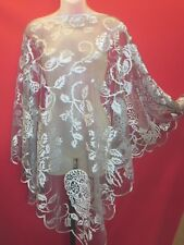 ~~HERITAGE LACE Pewter Skulls and Roses Poncho Wrap One Size~~NWT