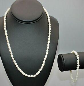4770~Marked JCLIND14KGE Fresh Water Pearl Bracelet W/Goldtone FWP Necklace**