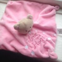 Love & Hugs Baby Girl Pink Teddy Bear Comforter Hugging Soft Toy Blanket Blankie