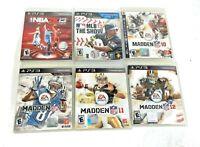 Lot of 6 PlayStation 3 PS3 Sports Games: Madden NFL 10,11,12,13,NBA2K 13, MLB 13
