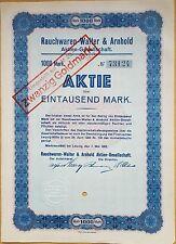 """MDS DEUTSCHLAND AKTIE 1000 MARK 1923 """"RAUCHWAREN WALTER & ARNHOLD, MARKRANSTÄDT"""""""