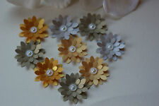 15 SHIMMER EARTH TONED 3D FLOWER EMBELLISHMENT WEDDING STATIONERY CARD TOPPERS,