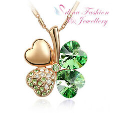 18K Rose Gold Plated Made With Swarovski Crystal Sweet Four-Leaf Green Necklace