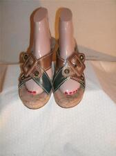 Bernardo Blue  And Brown  Leather Double Strap  Sandals Shoes Shoe Size 9 M